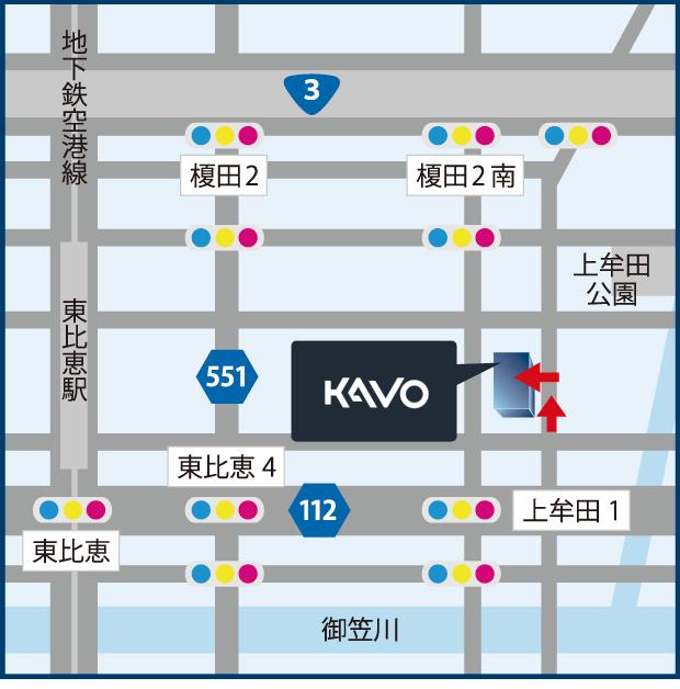 福岡ショールームの地図